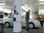 Charging station at Hertz Global EV rental launch, New York City, December 2010