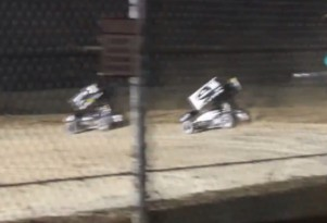 Tony Stewart flips his sprint car five times