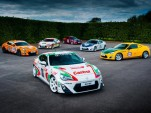 Toyota GT 86 coupes dressed with classic Toyota racing liveries