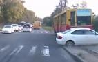 Car Gets T-Boned By Tram: Video