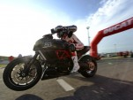 Troy Bayliss won the drag race - Ducati photo