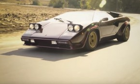 Valentino Balboni drives the Lamborghini Countach
