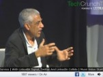 Venture capitalist Vinod Khosla speaking at TechCrunch Disrupt conference