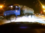 Video footage of a train crashing into a truck