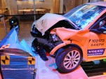 Volvo C30 electric car after crash testing. Photo by Joe Nuxoll.