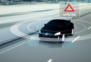 Volvo car-to-car slippery road detection