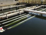 Wastewater & biofuel algae circulate through floating photobioreactors at San Francisco plant / NASA