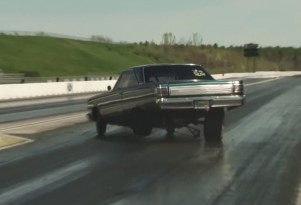 Watch a Plymouth Belvedere lose its rear end at the drag strip