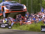 WRC Ford Fiesta flies over 160 feet at Rally Finland
