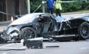 Wreckage of a fatal Pagani Zonda crash in the UK - Image courtesy Watford Observer