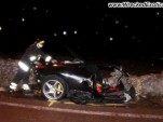 Wreckage of a Ferrari 458 Itala that crashed near Taranto, Italy