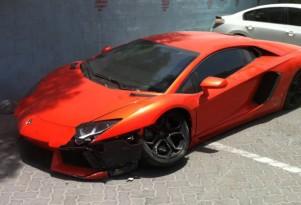 Wreckage of a Lamborghini Aventador LP 700-4 that crashed in Dubai