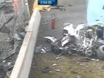 Wreckage of Audi R18 e-tron quattro at 2014 24 Hours of Le Mans (Image via Eurosport 2)