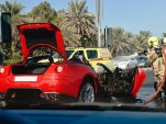 Wreckage of Ferrari 599 GTB Fiorano that burned to the ground in Dubai