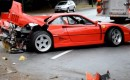 Wreckage of Ferrari F40 that crashed in Vancouver, British Columbia, Canada