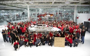 1,000th body for 2012 Tesla Model S on display at Tesla Motors factory, Fremont, CA, Oct 28, 2012