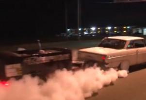 1,100-horsepower Chevy Nova does a burnout...with a trailer