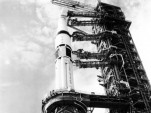 1973 photo of a Chrysler-built Saturn 1B rocket.