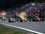 1980s F1 cars throw a shower of sparks