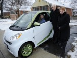 First Smart ForTwo Electric Drive with Roger Penske and Smart USA president Jill Lajdziak, Jan 2011