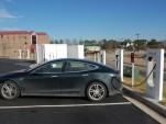 2013 Tesla Model S at Supercharger station on NY-to-FL road trip [photo: David Noland]