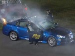 2014 Chevrolet SS NASCAR Sprint Cup pace car on fire