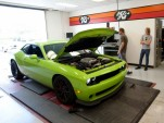 2015 Dodge Challenger SRT Hellcat strapped to a dyno (Image via Motor Trend)