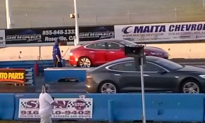 2015 Tesla Model S P85D in Ludicrous mode jumped at start of drag race  [photo: George Parrott]