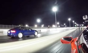 2016 Tesla Model S P100D on the drag strip