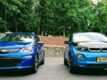 2017 Chevrolet Bolt EV Premier and 2017 BMW i3 electric car, Aug 2017        [photo: Tom Moloughney]