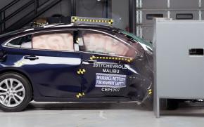 2017 Chevrolet Malibu in the IIHS' new passenger-side small-overlap crash test