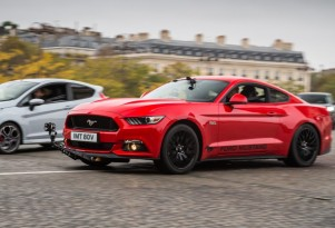2017 Ford Mustang GT during filming of 'C'etait un Rendez-Vous' remake