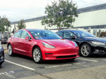 2017 Tesla Model 3 in Tesla assembly plant parking lot, Fremont, CA, November 2017