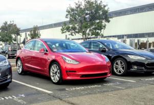 2017 Tesla Model 3 in Tesla assembly plant parking lot, Fremont, CA, November 2017