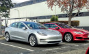 2017 Tesla Model 3 and Model S in Tesla assembly plant parking lot, Fremont, CA, November 2017