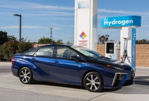 Toyota Mirai touted in ad on electric-car charging station