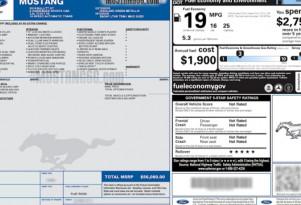 Alleged 2018 Ford Mustang Bullitt window sticker