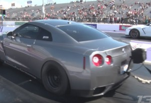 A 1,700-horsepower Nissan GT-R hiding a trick for staging while drag racing
