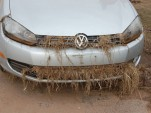 A car rendered inoperable by Hurricane Sandy