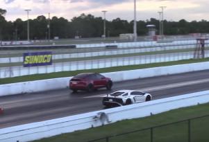 A Lamborghini Aventador SV lost to a Tesla Model X in the quarter mile