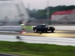 A modified 2015 Dodge Challenger SRT Hellcat at the dragstrip