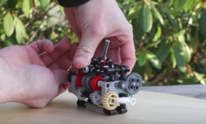 A scaled-down working six-speed manual transmission built with Lego