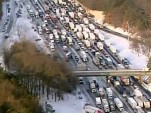 Aerial view of massive traffic snarl during Atlanta's 2014 snow storm, via NBC Charlotte @wcnc