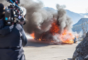 """Alpine A110 that caught fire during filming of """"Top Gear"""""""