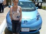 Alyssa Milano with the Nissan Leaf