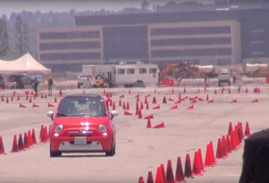 Autocrossing a Fiat 500e electric car for first, maybe last, time