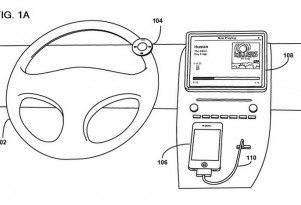 Apple's steering-wheel-mounted remote control design