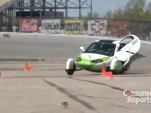 Aptera 2e during Automotive X-Prize handling tests, from Consumer Reports video on YouTube