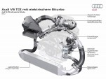 Audi engine with conventional turbocharger and electric compressor