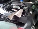 Audi R8 skewered on guard rail
